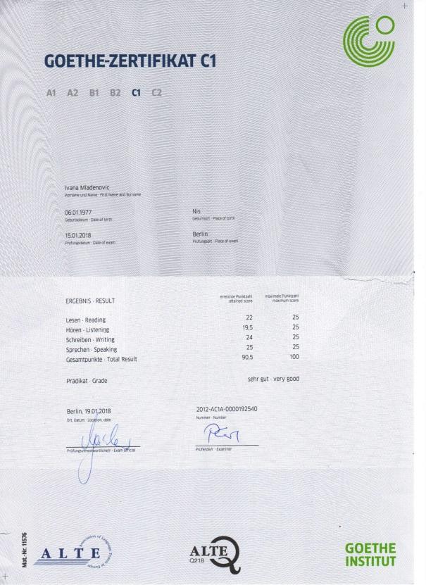 sertifikat C1 nemacki jezik